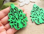 WP42 / # 6 Jade Green /Wood Filigree Lace Dangle /Laser Cut Lace Charm/ Pendant/ wooden ornaments/ Light earrings/wood finding