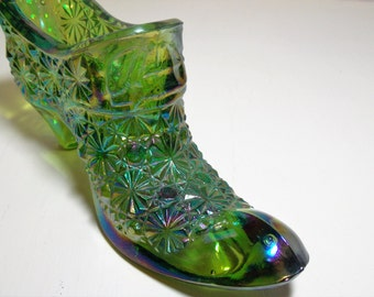 Green Carnival Glass Daisy and Button Shoe