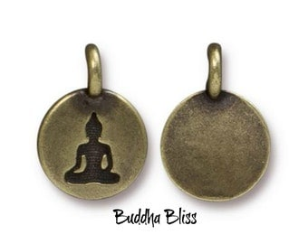 Two Meditating Buddha Charms Antique Bronze Finish TierraCast  Zen Yoga Buddhism