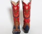 CUSTOM 1950's Inspired Hand Crafted GOOD LUCK Horseshoes Hearts Longhorn Leather Cowboy Boots by Rocketbuster Boots El Paso - Womens Size 7