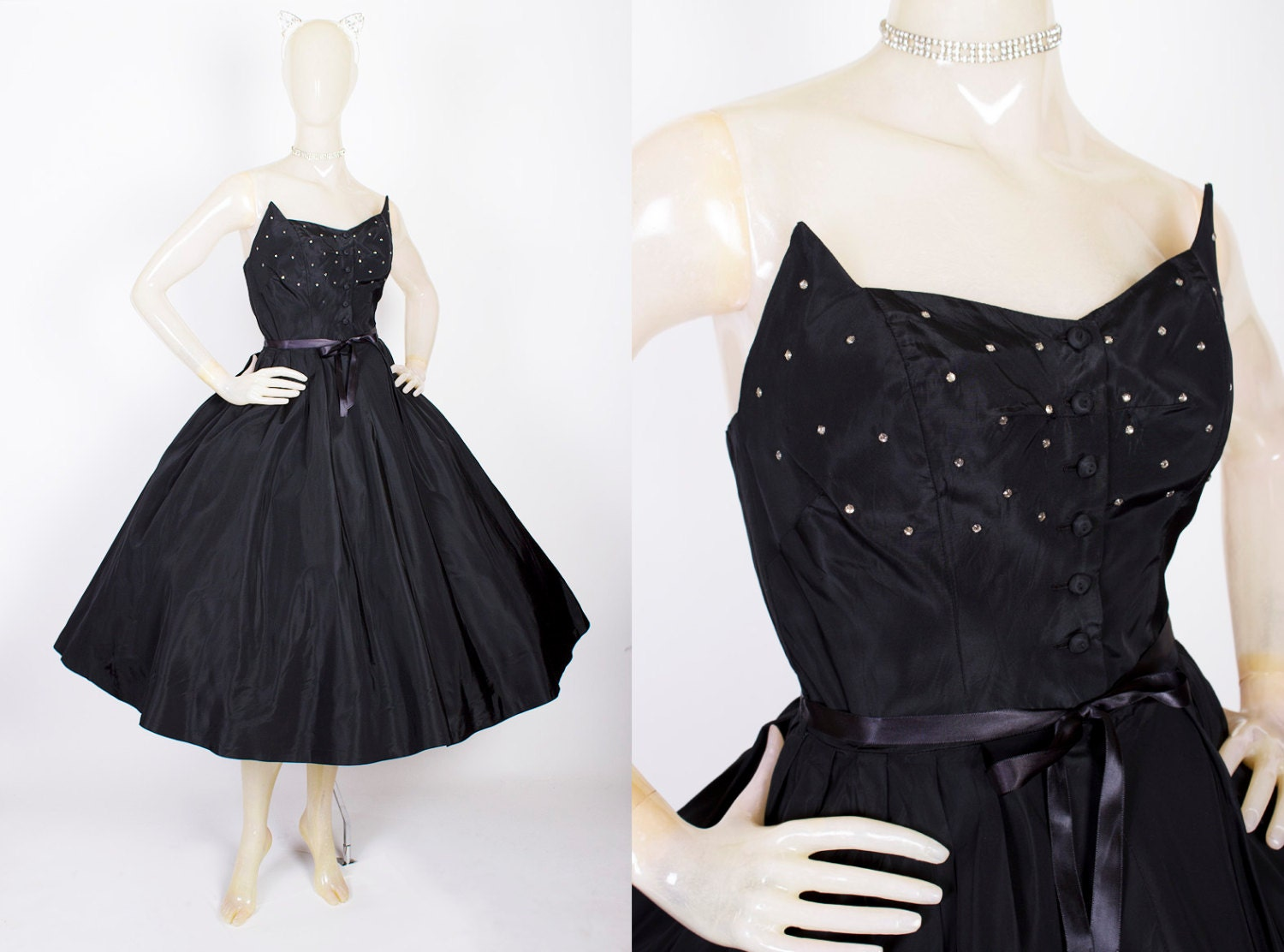 "CAT WOMAN 1950s New Look Inky Black Taffeta Strapless Party Dress w/ 3D Winged ""Cat Face"" Button-Up Bodice w/ Rhinestones by Milton - Size S"
