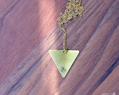 BEE necklace // raw brass long necklace // hand stamped jewelry // triangle, geometric