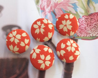 Fabric Covered Buttons (M) - Japanese Traditional Retro Orange Sakura Cherry Blossom Floral(5Pcs, 0.75 Inch)