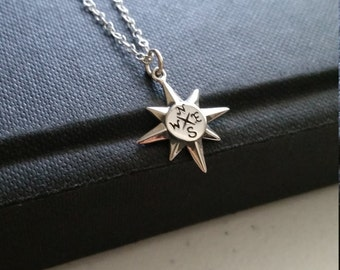 North star compass necklace, gift for graduate, inspiration necklace