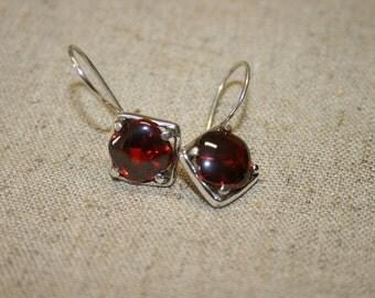 Red Stone Earring,Genstone Silver Earring,  Silver Earring , Sterling Silver Earrings, Silver Earrings, Handmade Earrings, Silver Jewelry,