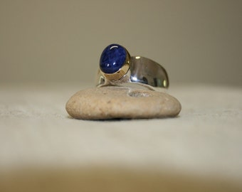 Lapis Ring, Silver Ring, Lapis Silver Rings,  Silver and Gold Ring, Lapis Jewelry, Birthstone Ring ,Ring Size 9