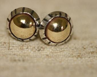Handmade Silver Stud Earrings,Silver and Gold Stud Earrings, Silver Stud Earrings, Israeli Made Everyday Wear Earrings, Gold Domes Earrings,