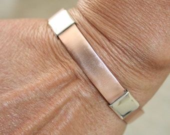 Small Sized Bangle, Copper Bangle, Handcrafted Bracelet ,Copper and Silver Bracelet, Stackable bangle, Unixex Bangle