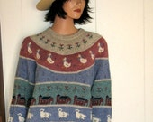 Awesome Eddie Bauer Farm Life Wool Sweater Dated 1989 Mint Size Large