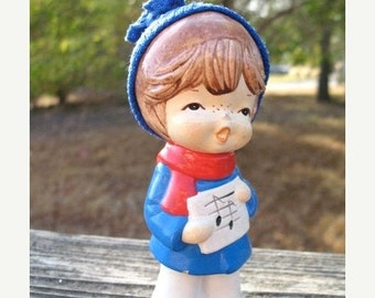 Darling ChalkWare Christmas  Choir Boy  Circa 1960s Made in Korea  Kawaii Cute