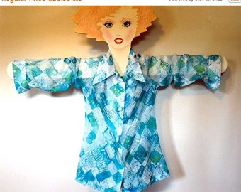 Vintage Mod 1965 Madmen MINT  Lady Arrow Sheer Poly Crepe Spring Green Turquoise and White Abstract Blouse