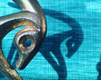 Stylized 50s Frederic Weinberg Gilt Brass Metal Ram Ibex Sculpture Figurine Mid Century Modern Retro Fifties
