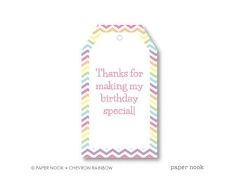 Chevron Rainbow Birthday PRINTABLE Gift Tag