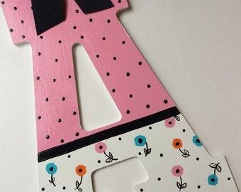 DAINTY CHIC - LARGE Handpainted Letter (set)  - Nursery Monogram - Pink Orange Aqua Black Polka Dot