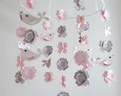 Love Bird Baby Mobile in Pinks and Gray
