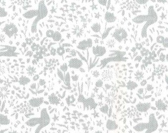 Grey and White Bunny Floral Shadow Garden Double Gauze by Sarah Jane For Michael Miller, 1 Yard