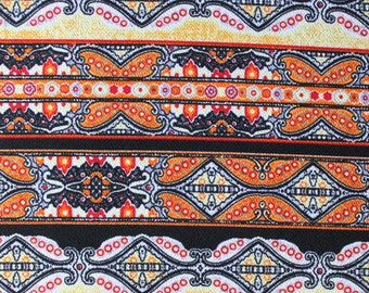 Orange Yellow Red and Black Geometric Stripe Liverpool Knit Fabric, 1 yard