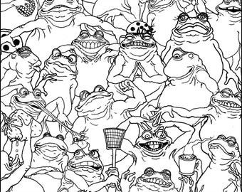 Frog And Toad Collage Coloring Poster (11x14.5)