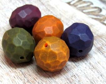 Colorful Bead set, Artisan Beads, Art Beads, Fragment Beads, Geometric Beads, Hollow Beads, Carved Beads, Yellow, Orange, Blue, Plum, Green
