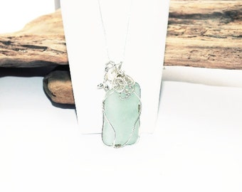 Sterling Silver - Sea Glass Necklace -  Lake Erie Beach Glass - Seafoam Glass Necklace