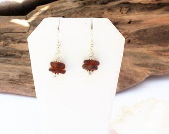 Sea  Glass Earrings - Lake Erie Earrings - Brown Pierced Earrings - Beach Glass Jewelry - FREE Shipping inside the United States