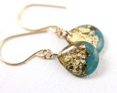 teal dangle earrings with gold leaf and glitter on 14 karat gold, blue earrings, blue green earrings, gold earrings, gold drop earrings