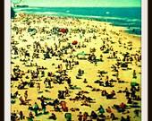 Beach Crowd Photograph, Vintage Beach Scene,  12x12 or 20x20 Photograph, yellow aqua, Vintage Vacation, Beach House Art, Beach House Decor
