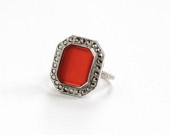 Sale - Vintage Art Deco Sterling Silver Carnelian & Marcasite Ring - 1930s Size 4 3/4 Dark Red Gem Shield Wheat Design Statement Jewelry