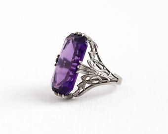 Vintage Art Deco Sterling Silver Simulated Amethyst Ring - Antique 1920s Filigree Purple Glass Stone Rectangular Statement Jewelry
