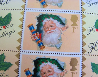 Full Sheet of 10 Stamp Show 2000 Smilers for Christmas UNused Great Britain Postage Stamps London Smile Santa Claus GB Worldwide Philately