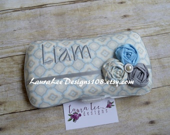 Gray and Light Blue with Rolled Flowers, Travel Baby Wipe Case, Personalized Case, Baby Shower Gift, Wipe Holder, Clutch, Diaper Wipes Case
