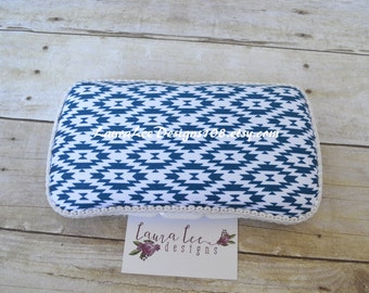 READY TO SHIP Navy Blue and White Aztec Tribal Boutique Style Travel Wipe Case, Wet Wipe Case, Nappy Wipe Case, Personalized Wipe Case