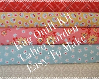 Calico Garden, Kit 3 Rag Quilt Kit, Red, Pink, Yellow, Blue Easy to Make, Personalized