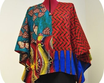 Bright Kaftan Top, African Patchwork Bohemian Blouse, Unique Ankara style, Barefoot Modiste Handmade, Summer wear, Suited for - up to XL