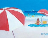 ACEO Art, miniature art, Beach painting, small painting, original collectable art, tiny oil painting, by Jan Matson