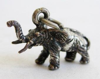 Vintage Sterling Silver Figural 3D Elephant Bracelet Souvenir Charm