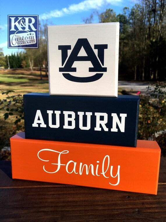 Auburn Tigers Family Auburn Football Blocks Sign Shelf Decor