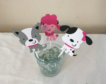 12 Pink puppy dog Cupcake Toppers pink puppy dogs