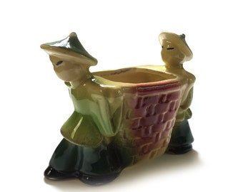 Vintage Shawnee Pottery Planter Asian Chinese Men Carrying a Basket USA 537