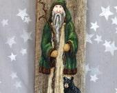 """Ole Saint Nick, Christmas, Yuletide, authentic barnwood, hand painted, 5 1/2"""" x 13 1/2"""""""