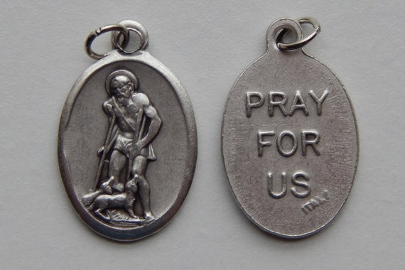 5 Patron Saint Medal Findings - St. Lazarus, Die Cast Silverplate, Silver Color, Oxidized Metal, Made in Italy, Charm, Drop, RM512