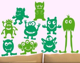 Kids Room Decor Monster Geekery Vinyl Wall Decals, Nine Little Green Men, Goofy Alien Wall Art, Alien Decor, Kids Playroom Decor