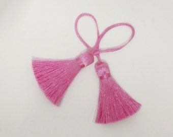 Bright Pink Tassel Handmade Silk Trim Fringe Jewelry Making Fashion Earrings Sewing Embellishments 2 pieces