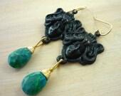 Green chrysocolla & black brass lady Persephone dangle earrings.