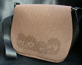 "Handmade grey leather bag. The Beatles. ""Beatles for Sale"" and ""Abbey Road"" covers. Double drawing.Unisex."
