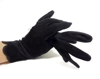 Black Gloves, Wrist Length with Scalloped Edge