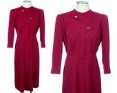 vintage gabardine dress • 1940s cranberry asymettrical old hollywood dress