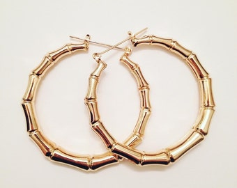 Gold Bamboo Hoops - Vintage Retro silver bamboo hoops