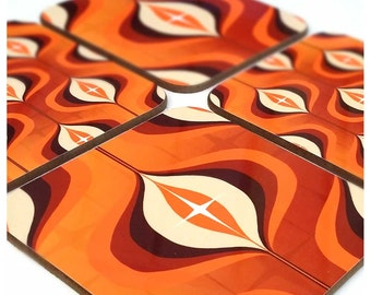 1970s Op Art Coaster Set - Orange Coasters - Retro Coaster Set - Orange Decor - Retro Home Decor - Retro Wedding Gift - Retro 70's Decor