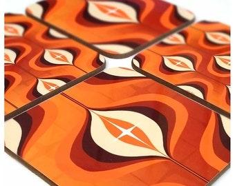 1970s Op Art Coasters set of four - Orange Coasters - Retro Coasters - Gift for Retro Couple - Orange Decor - Retro Home Decor - 70's Décor